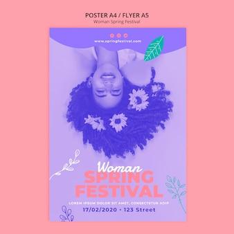 Poster met vrouw lente festival thema