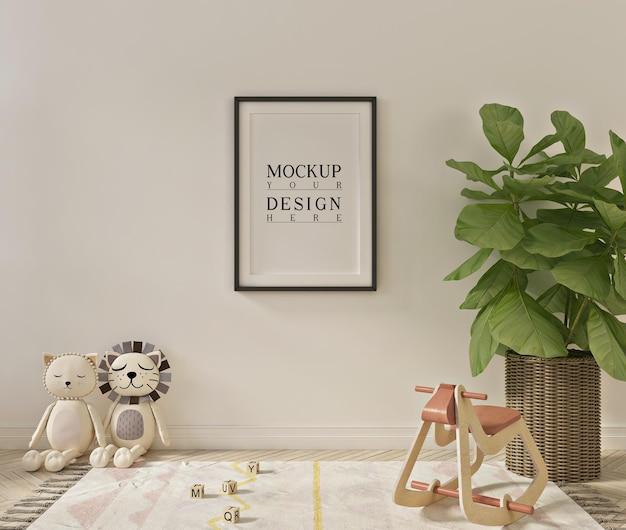 Poster mockup in eenvoudig en schattig interieur van een speelkamer