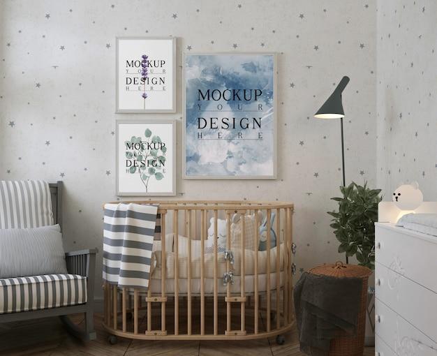 Poster mockup in moderne babyslaapkamer