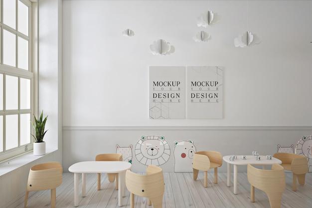 Poster mockup in moderne eigentijdse kleuterschool