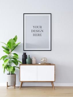 Poster mockup interieur scandinavische kast en decoraties