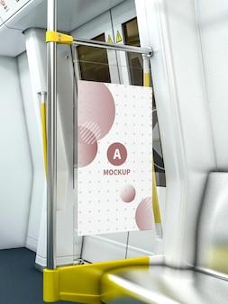 Poster mockup-ontwerp in 3d-weergave in het openbaar vervoer