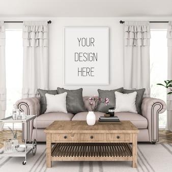 Poster mockup, woonkamer met verticaal frame, scandinavisch interieur