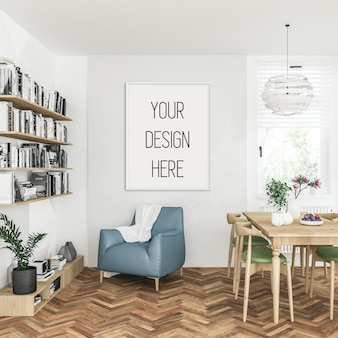 Poster mockup, woonkamer met witte verticale lijst, scandinavisch interieur
