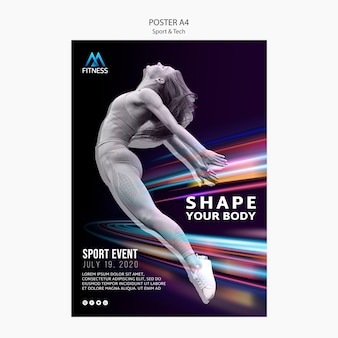 Poster motivazionale di sport e tecnologia