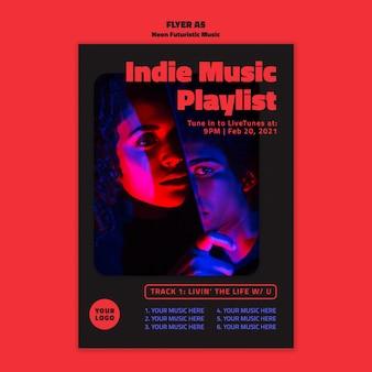 Poster neon futuristische muzieksjabloon