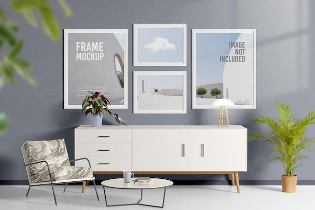 Póster o marco en la maqueta de la sala de estar