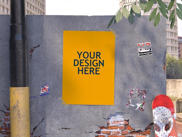 Poster op betonnen muurmodel