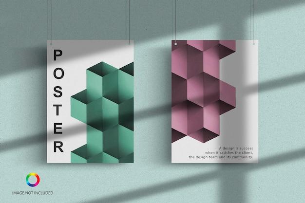 Poster opknoping mockup ontwerpweergave