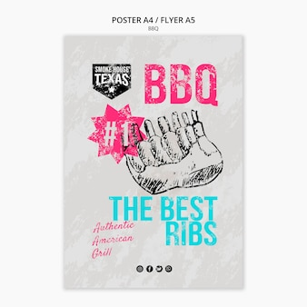 Poster per barbecue con costolette alla griglia