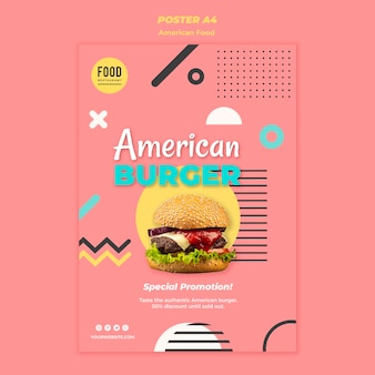 Poster per cibo americano con hamburger