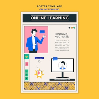 Póster plantilla de aprendizaje en línea