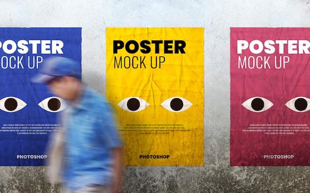 Poster print op grunge cement muur mockup