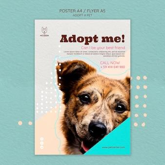Poster sjabloon met adoptie van huisdieren
