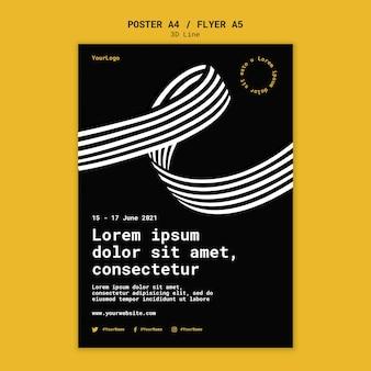 Poster sjabloon met driedimensionale lijnen