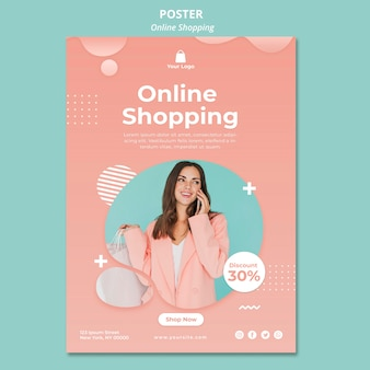 Poster sjabloon met online boodschappen thema