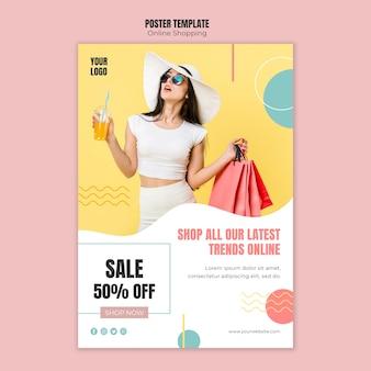 Poster sjabloon met online winkelen