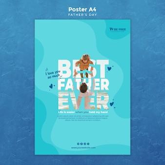 Poster sjabloon met vaders dagthema