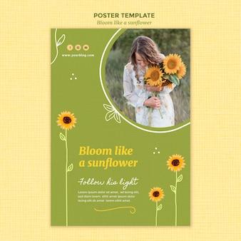 Poster sjabloon met zonnebloemen en vrouw