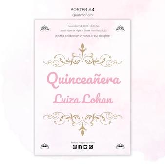 Poster sjabloon quinceanera partij