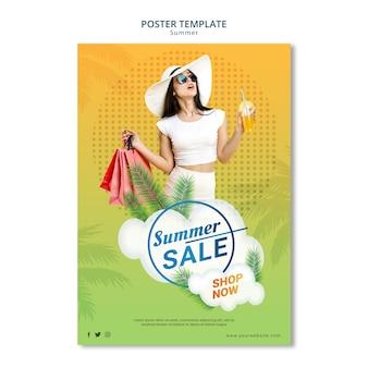 Poster sjabloon stijl zomer verkoop