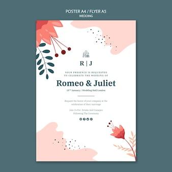 Poster sjabloon voor bruiloft met bloemen Gratis Psd
