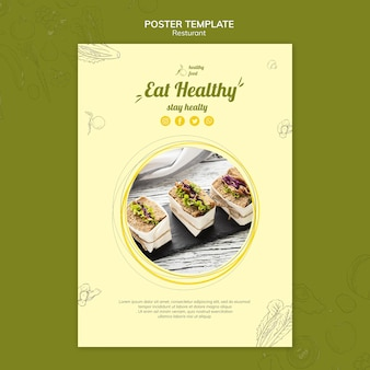 Poster sjabloon voor gezond ontbijt met broodjes