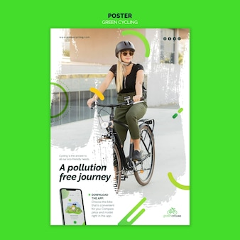 Poster sjabloon voor groen fietsen