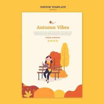 Poster sjabloon voor herfstactiviteiten buitenshuis