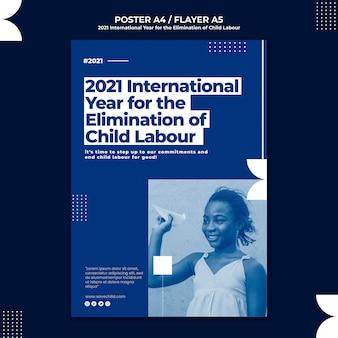 Poster sjabloon voor het internationale jaar voor de uitbanning van kinderarbeid