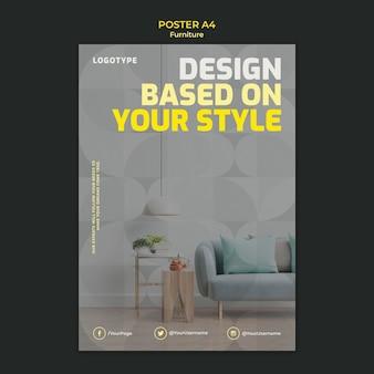 Poster sjabloon voor interieurontwerp bedrijf