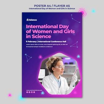 Poster sjabloon voor internationale dag van vrouwen en meisjes in de viering van de wetenschap met vrouwelijke wetenschapper