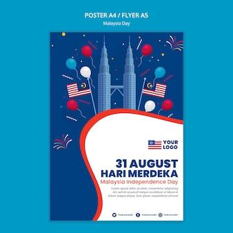 Poster sjabloon voor jubileumfeest van de dag van maleisië