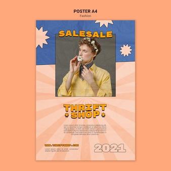 Poster sjabloon voor kringloopwinkel mode verkoop