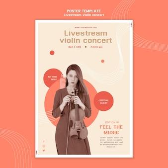 Poster sjabloon voor livestream vioolconcert
