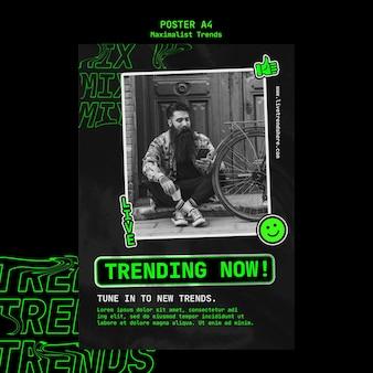 Poster sjabloon voor maximalistische trend