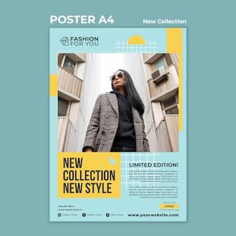 Poster sjabloon voor modecollectie met vrouw in de natuur