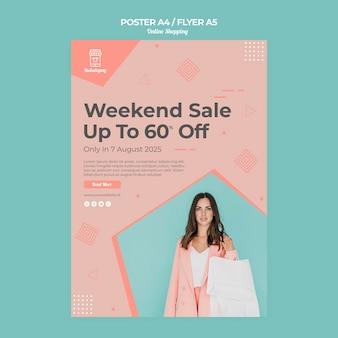 Poster sjabloon voor online winkelen met verkoop