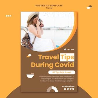 Poster sjabloon voor reizen met vrouw