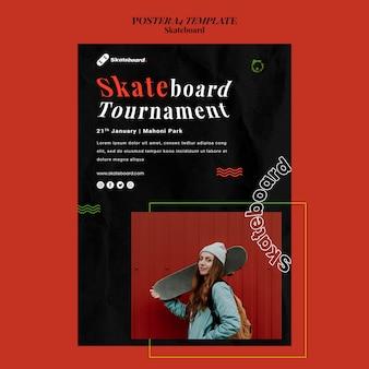 Poster sjabloon voor skateboarden met vrouw
