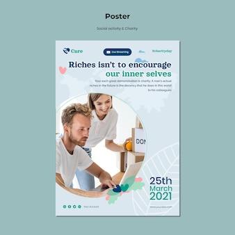 Poster sjabloon voor sociale activiteit en liefdadigheid