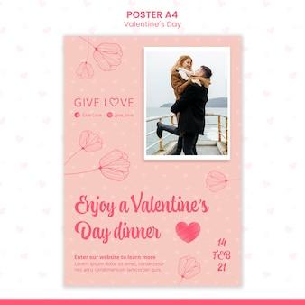 Poster sjabloon voor valentijnsdag met foto van paar