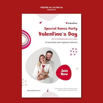 Poster sjabloon voor valentijnsdag met paar