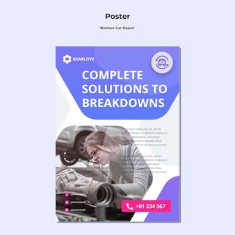 Poster sjabloon voor vrouwelijke automonteur
