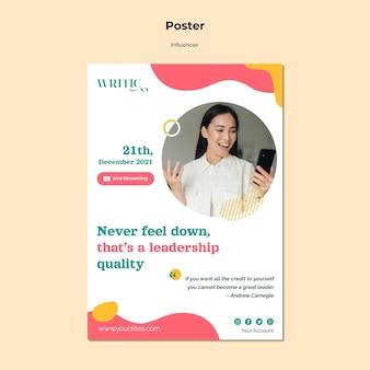 Poster sjabloon voor vrouwelijke beïnvloeder op sociale media