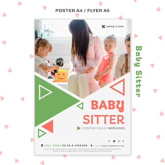 Poster sjabloon voor vrouwelijke oppas met kinderen