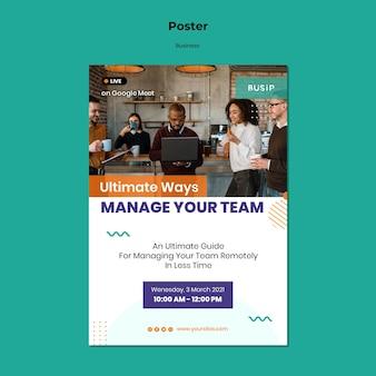 Poster sjabloon voor webinar en opstarten van een bedrijf