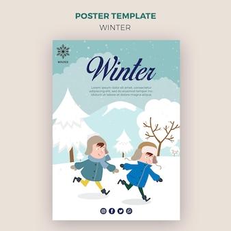 Poster sjabloon voor winder met kinderen