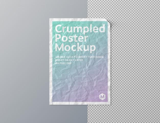 Poster stropicciato ritagliato sulla superficie grigia mockup