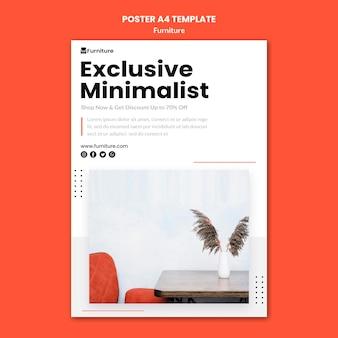 Póster vertical para diseños de muebles minimalistas.